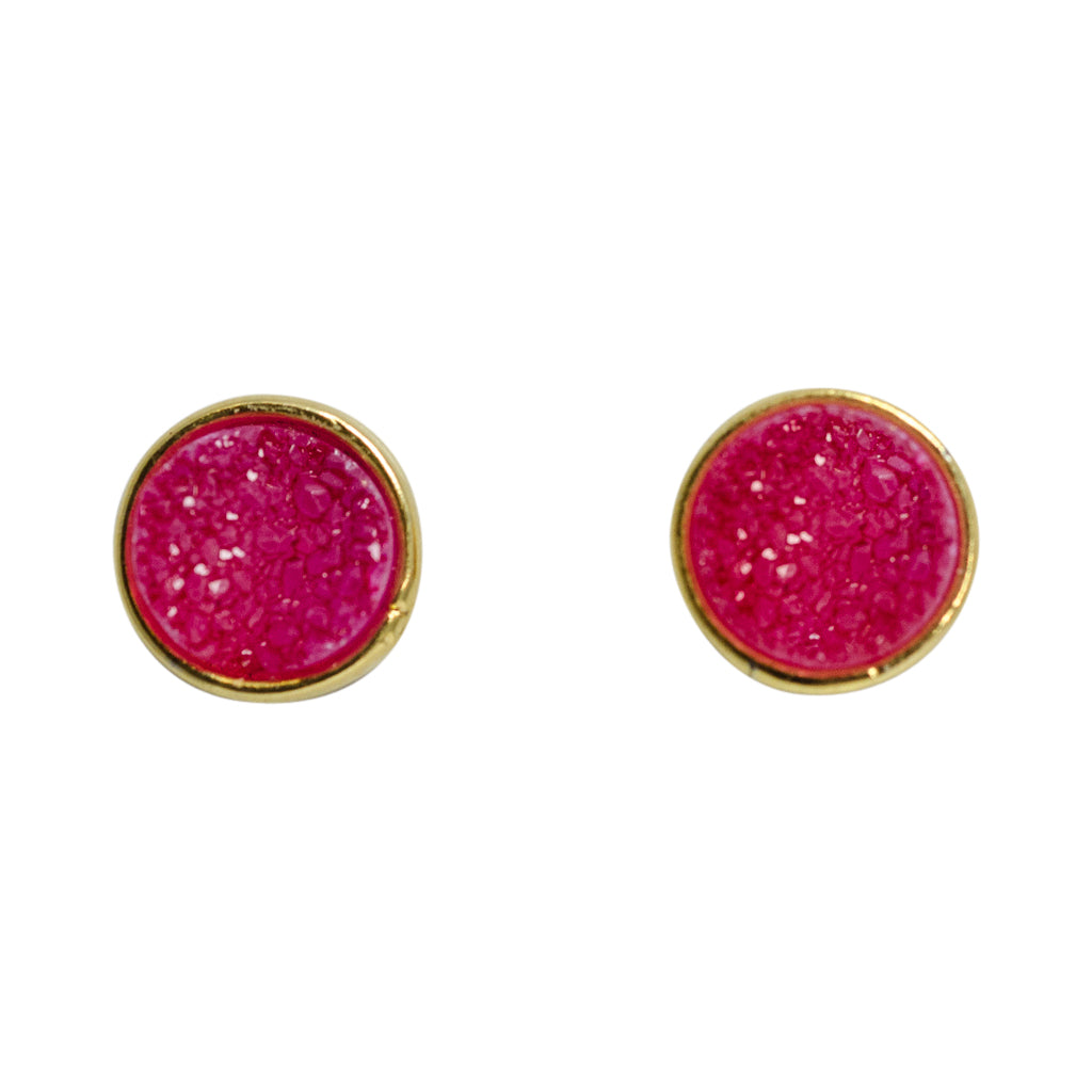 cute simple sparkle rose pink vermeil post stud earrings