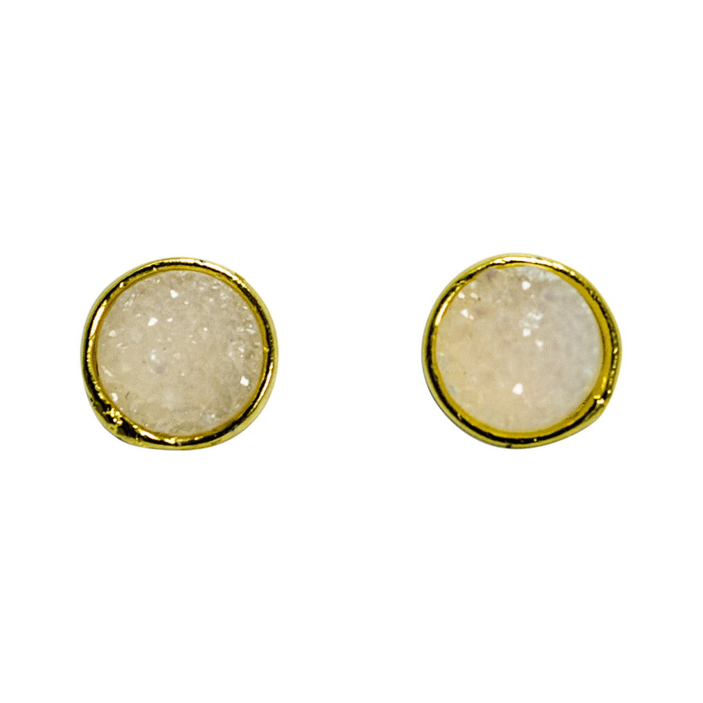 cute simple sparkle white vermeil post stud earrings