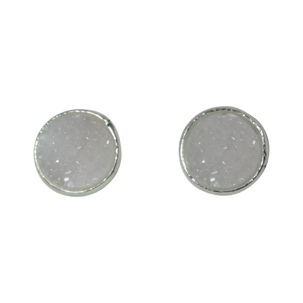 cute simple sparkle white silver post stud earrings