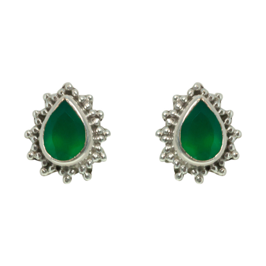 Green Onyx Earring Silver