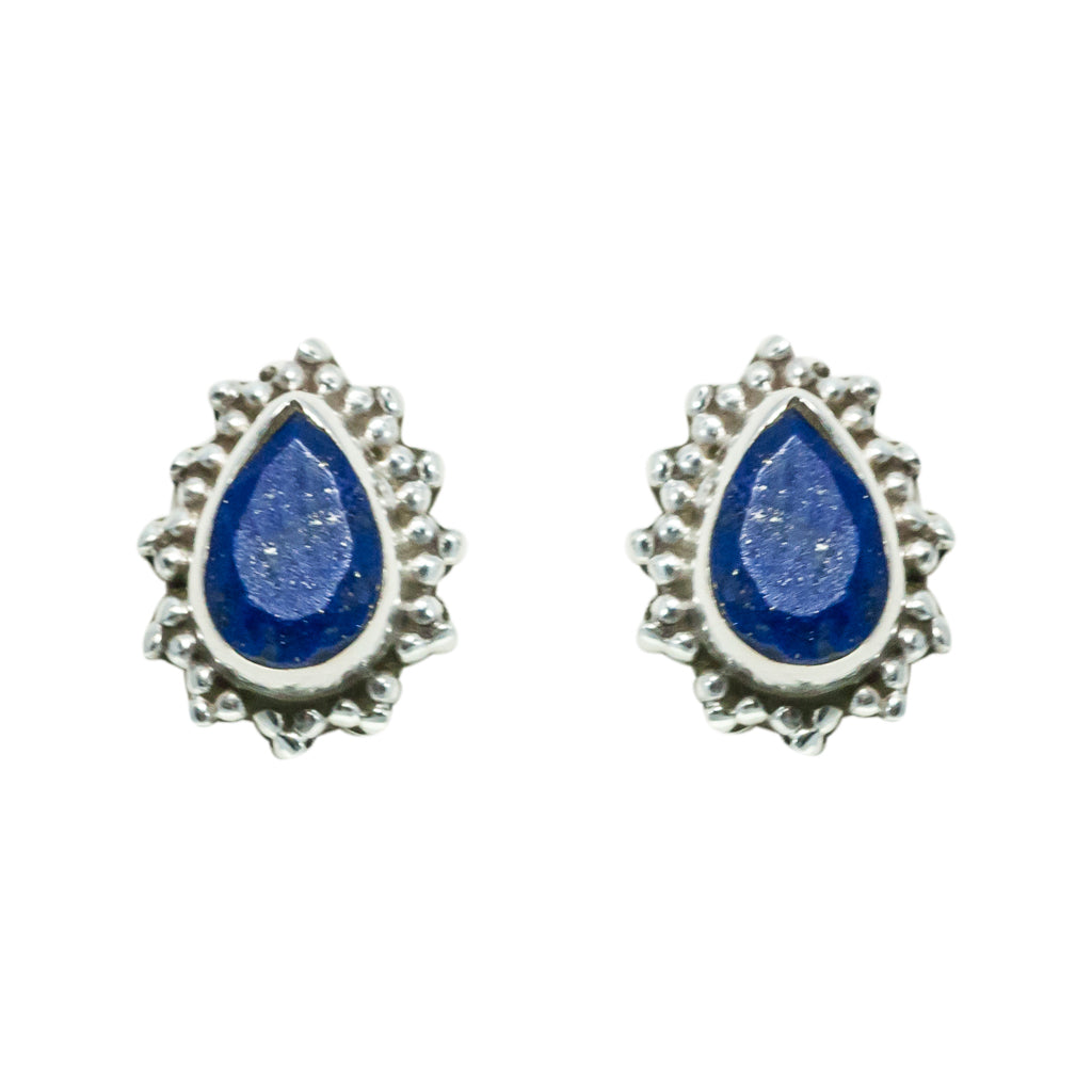 Lapis Earring Silver Beautiful Color Stone