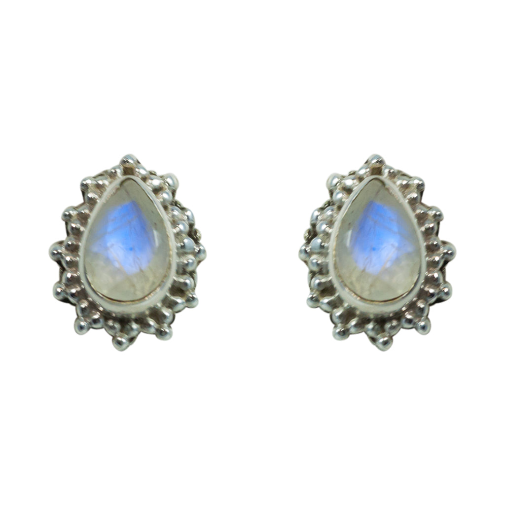 Rainbow Moonstone Earring Silver