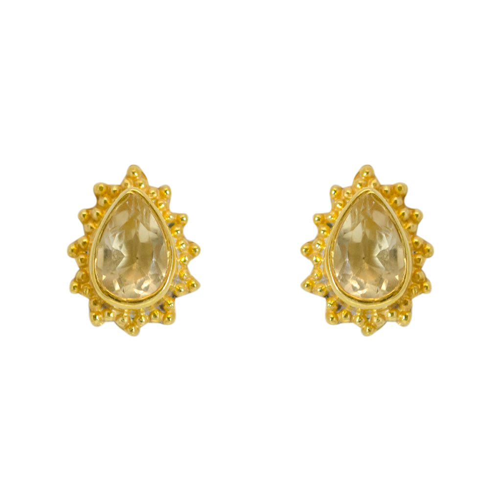 Citrine Earring Vermeil Gold Classic Affordable