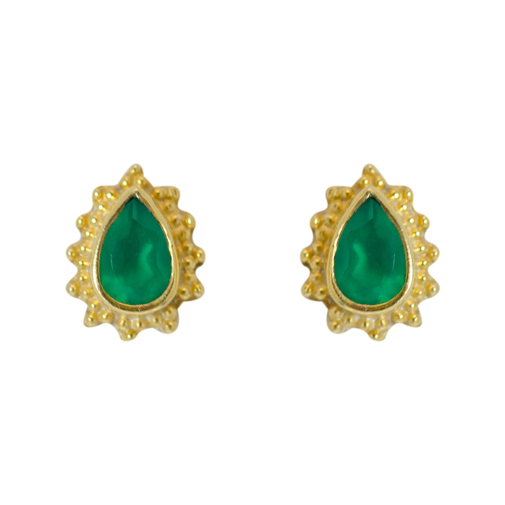 Green Onyx Earring Gold Vermeil Affordable Pretty