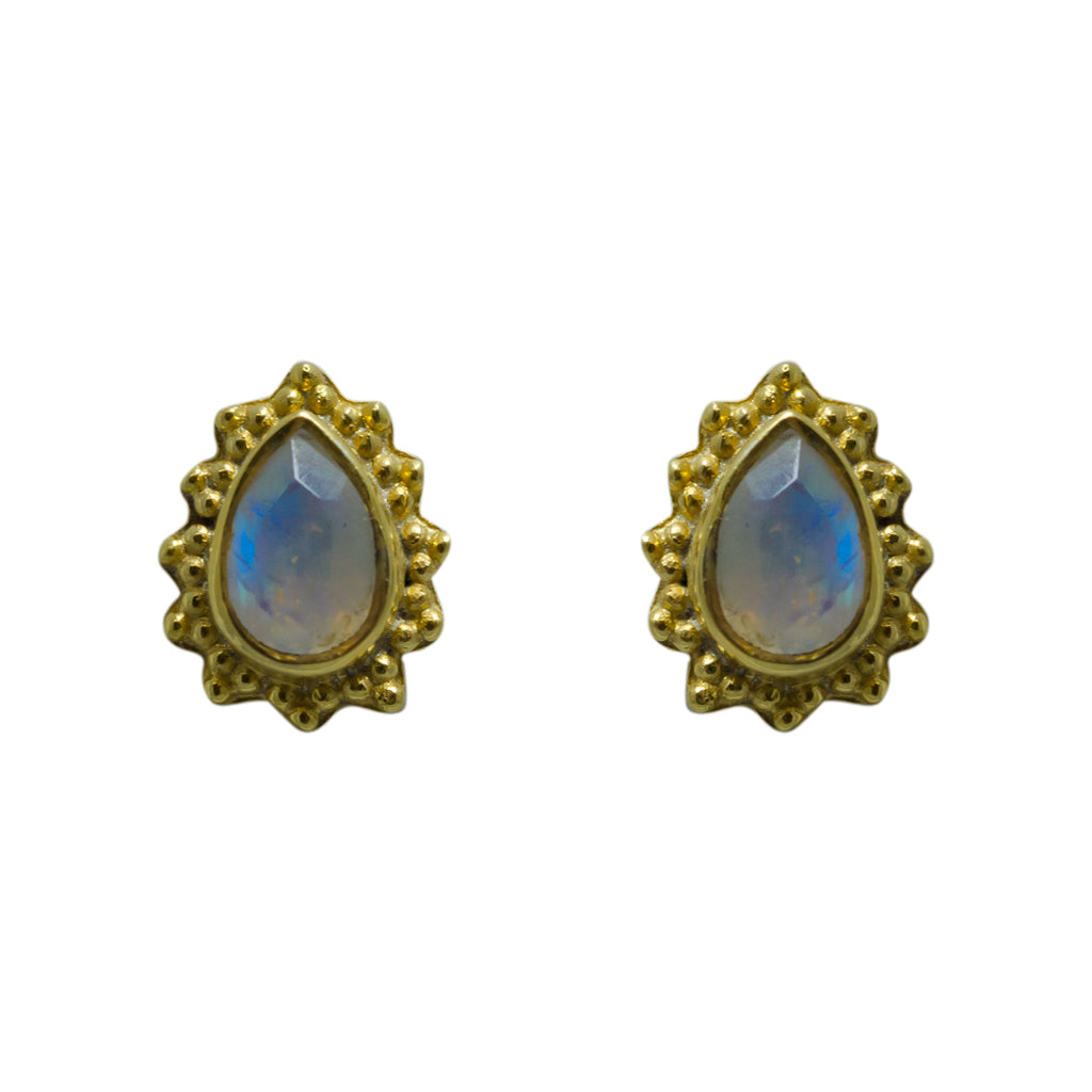 Rainbow Moonstone Earring Gold Vermeil