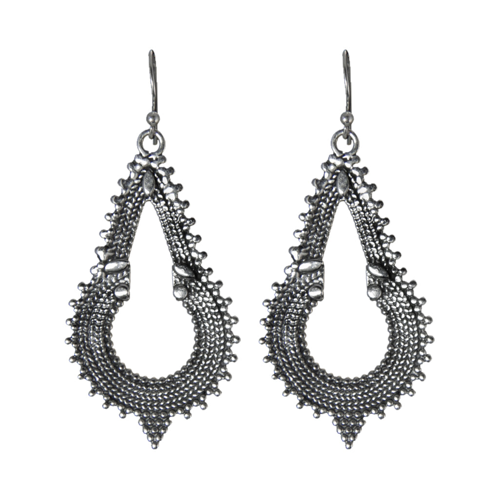 Earring Spiky Large Silver Dangle Boho Stylish Trendy Fashionable