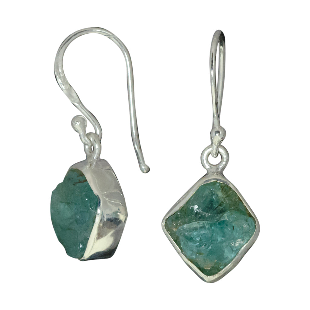 Blue Apatite Rough Stone Silver Earring Cute Boho Adorable