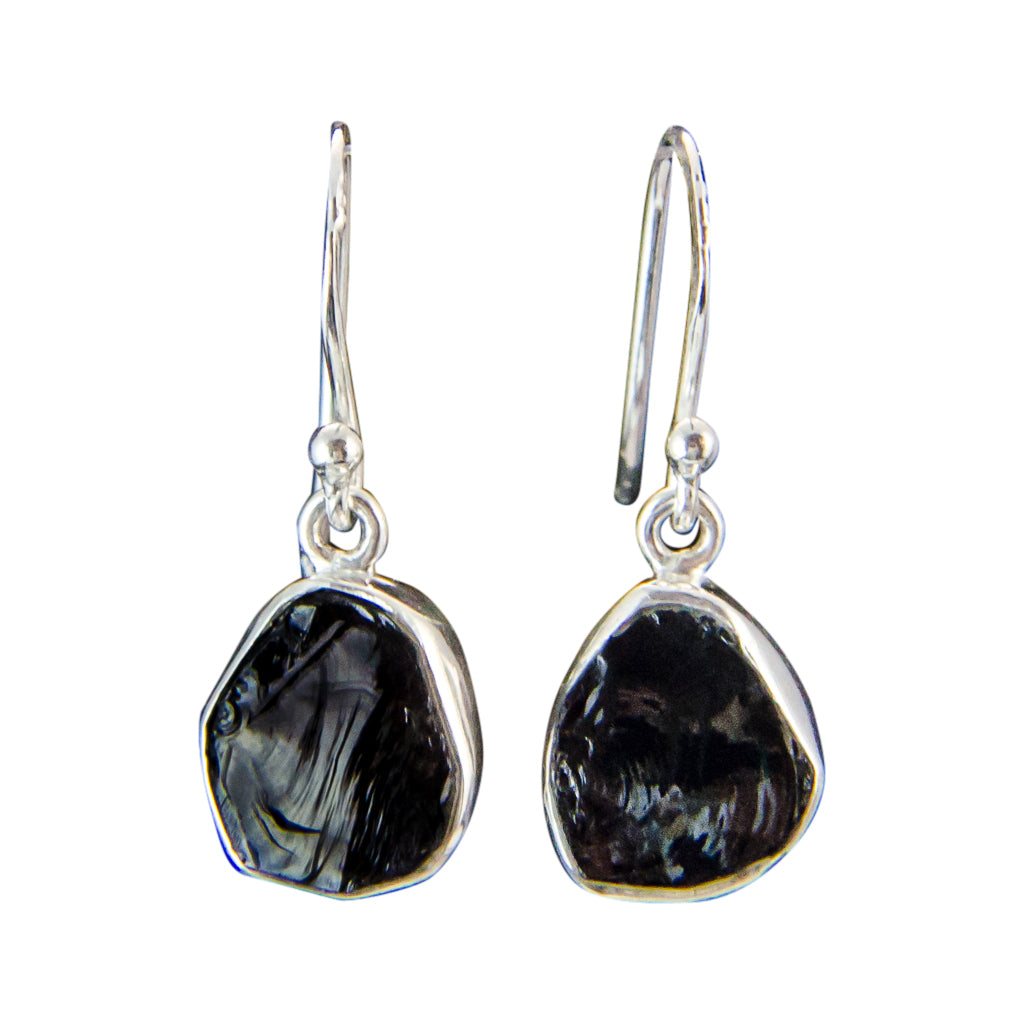 Dangle Black Tourmaline Elegant Rough Stone Pretty Boho Silver Earring