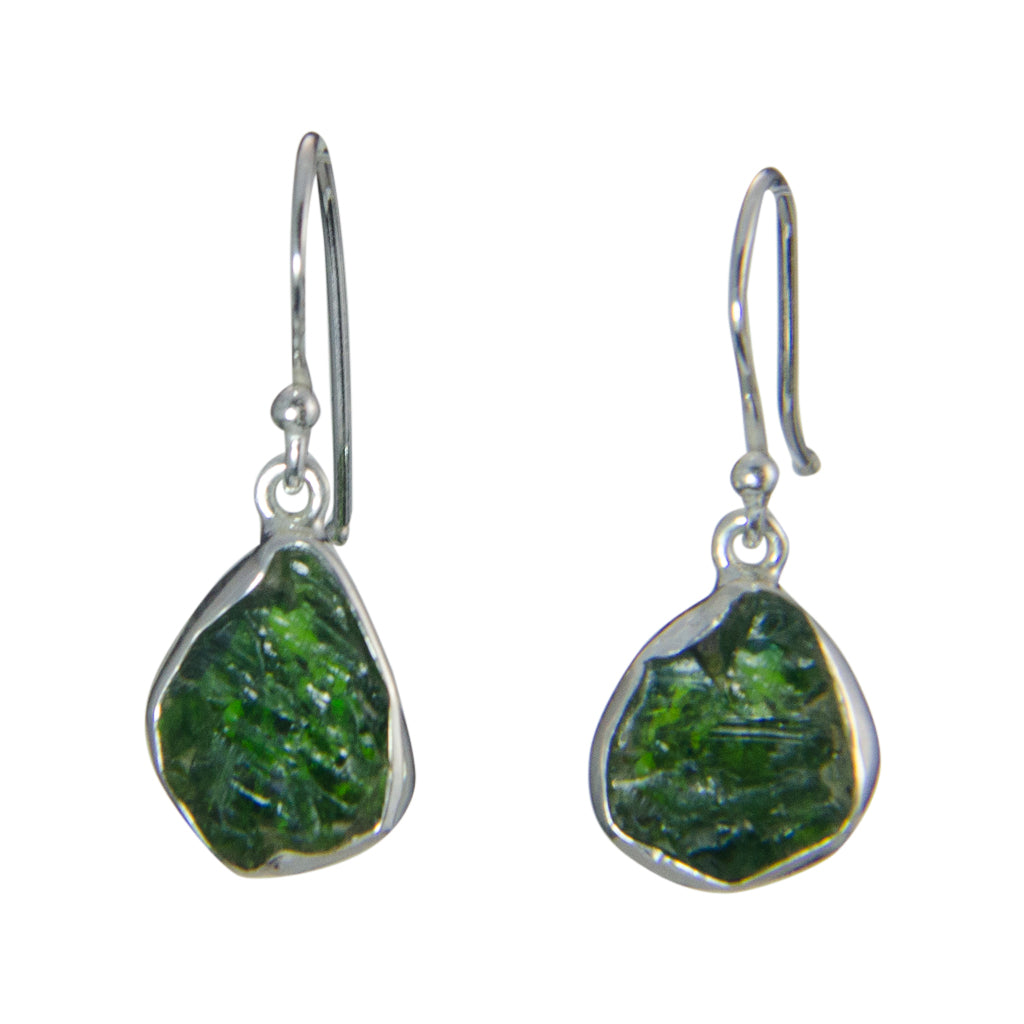 Dangle Green Tourmaline Rough Stone Pretty Elegant Earring Silver Boho Earring