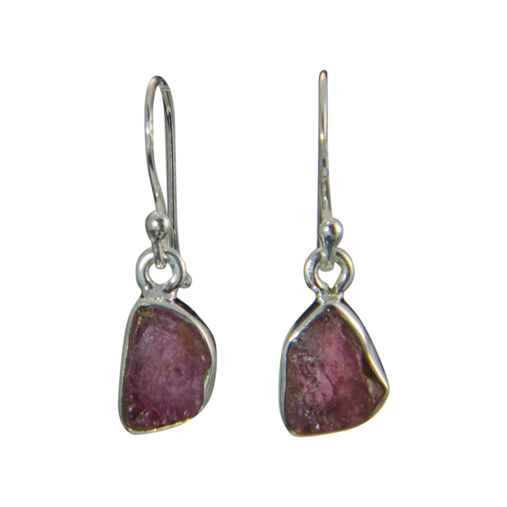 Dangle Pink Tourmaline Rough Stone Elegant Pretty Silver  Boho Earring