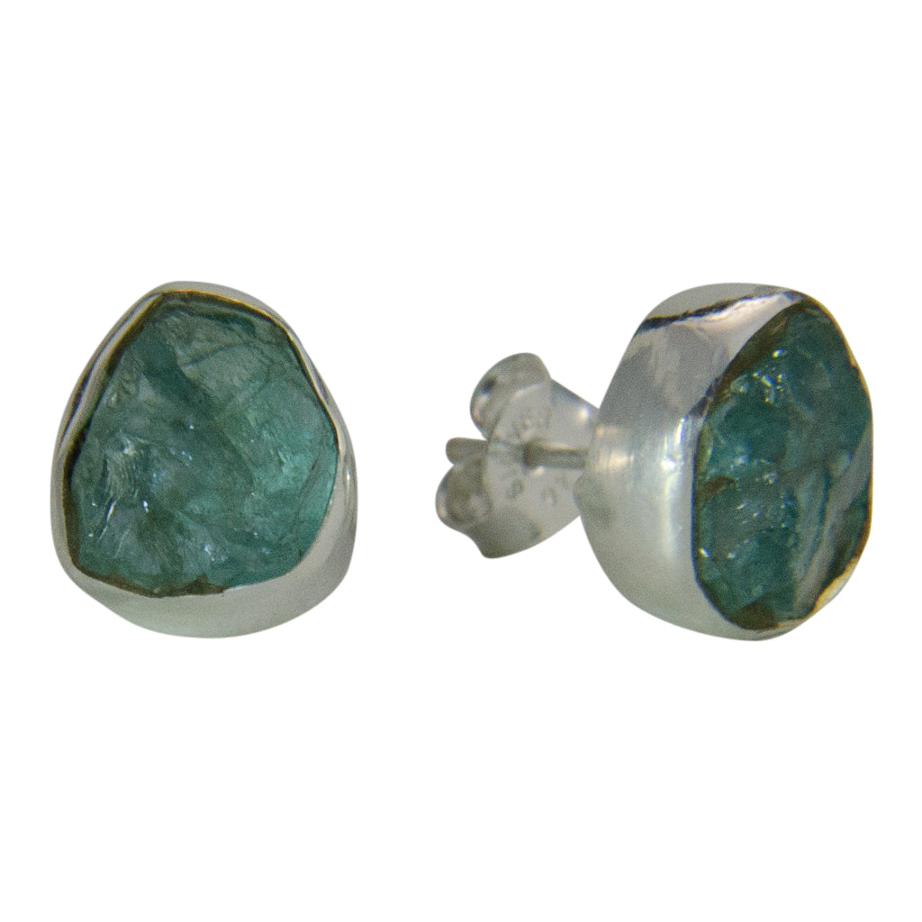 Post Stud Earring Green Stone Rough Pretty Silver Faceted Boho Stylish Trendy