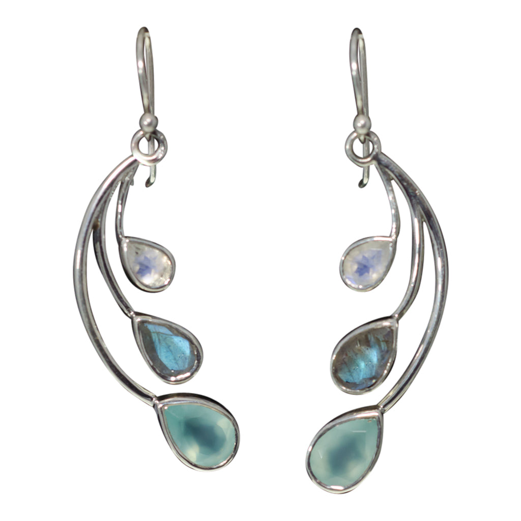 Dangle Sterling Silver Three Stone Wing Chalcedony Labradorite Rainbow Moonstone