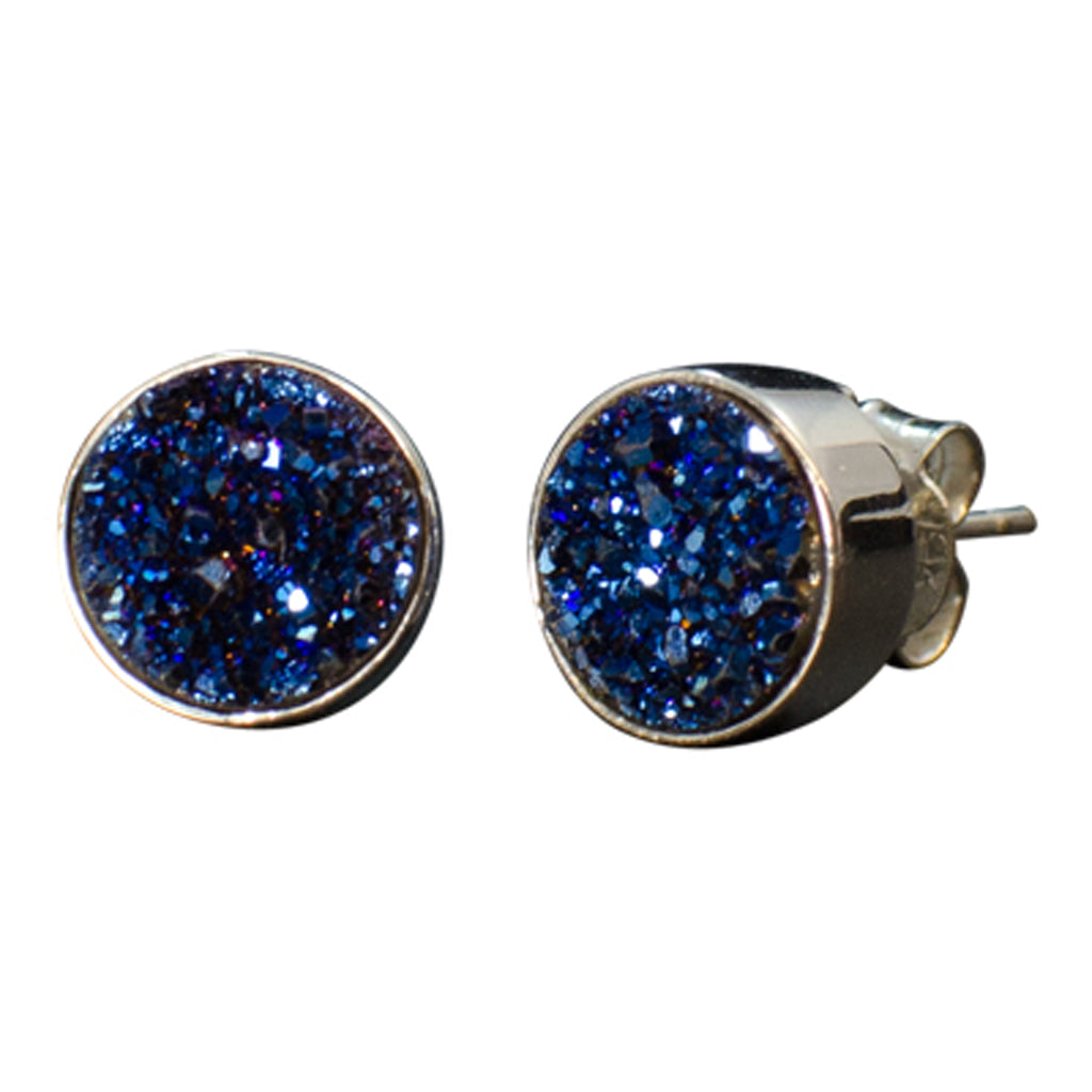 blue druzy rough stone post stud earring silver
