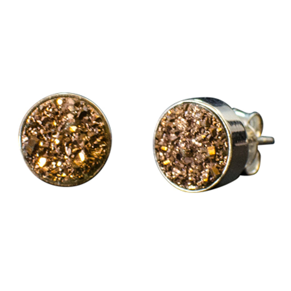 circle druzy rough stone copper silver post stud earrings