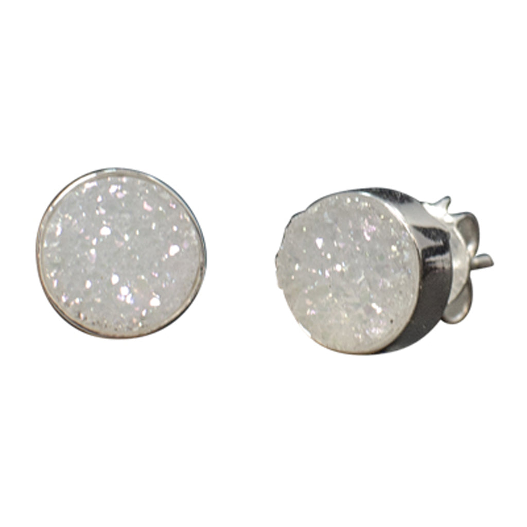 white druzy rough stone silver post stud earring