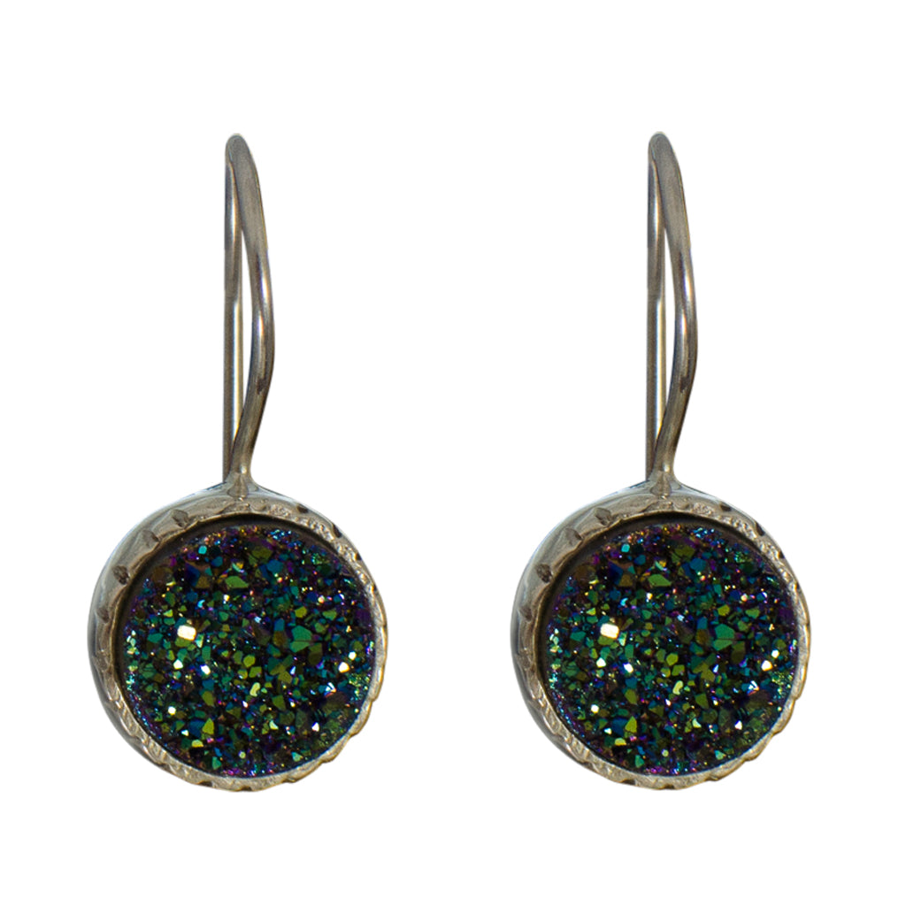 circle druzy rough stone green dangle earring silver