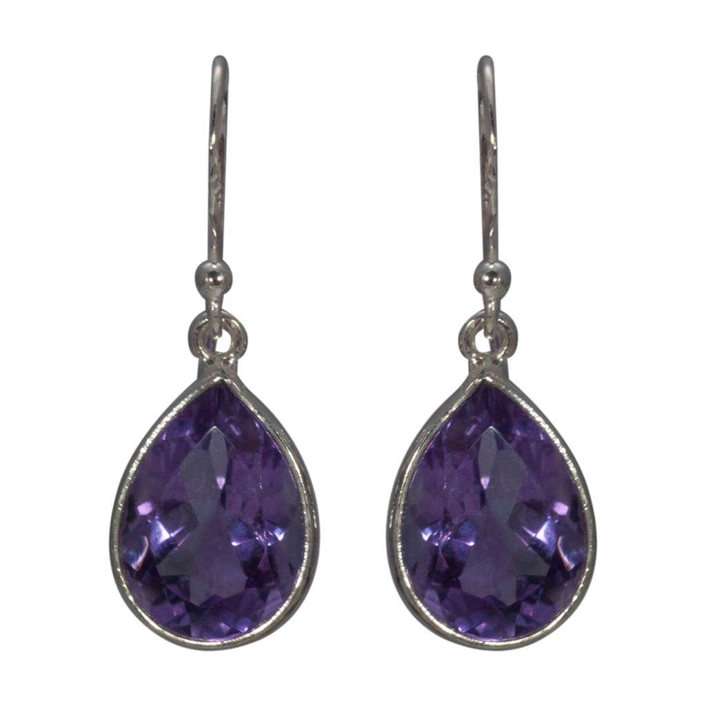 Amethyst Earring Stone Faceted Teardrop Silver Affordable Trendy Delicate Stylish Jewelry