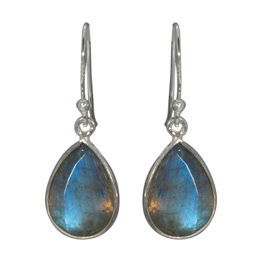 Labradorite Silver Dangle Drop Earring Stone Blue