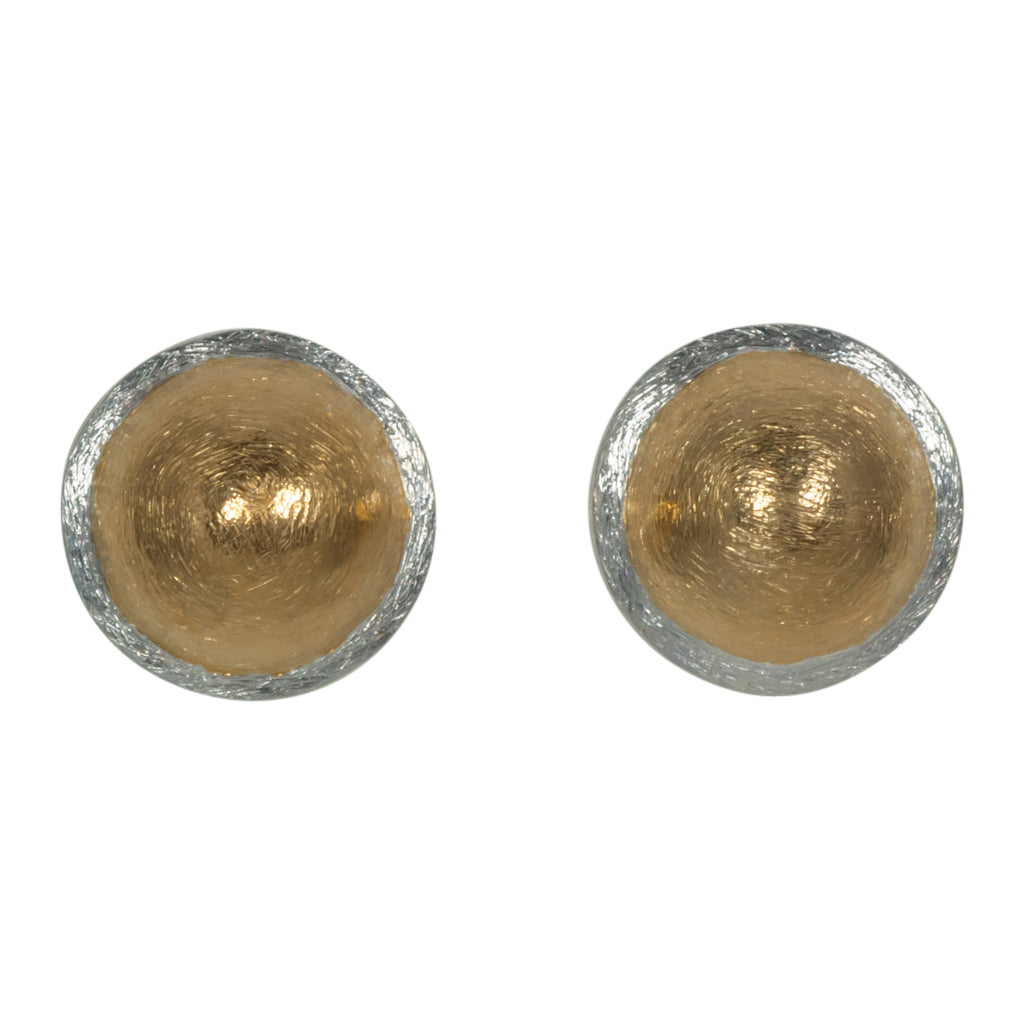 Paradiso Vermeil Dark Rhodium Gold Post Dome Earring Gorgeous Circle Stylish Trendy Affordable