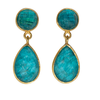 Vermeil Aqua oceans Earring drop post affordable pretty apatite