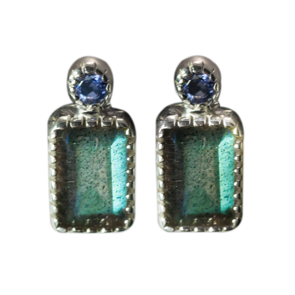 Labradorite iolite stones faceted earring boho style affordable