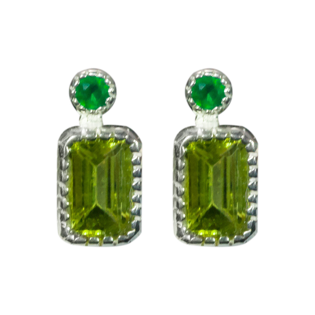 Peridot green onyx stone post earring affordable faceted
