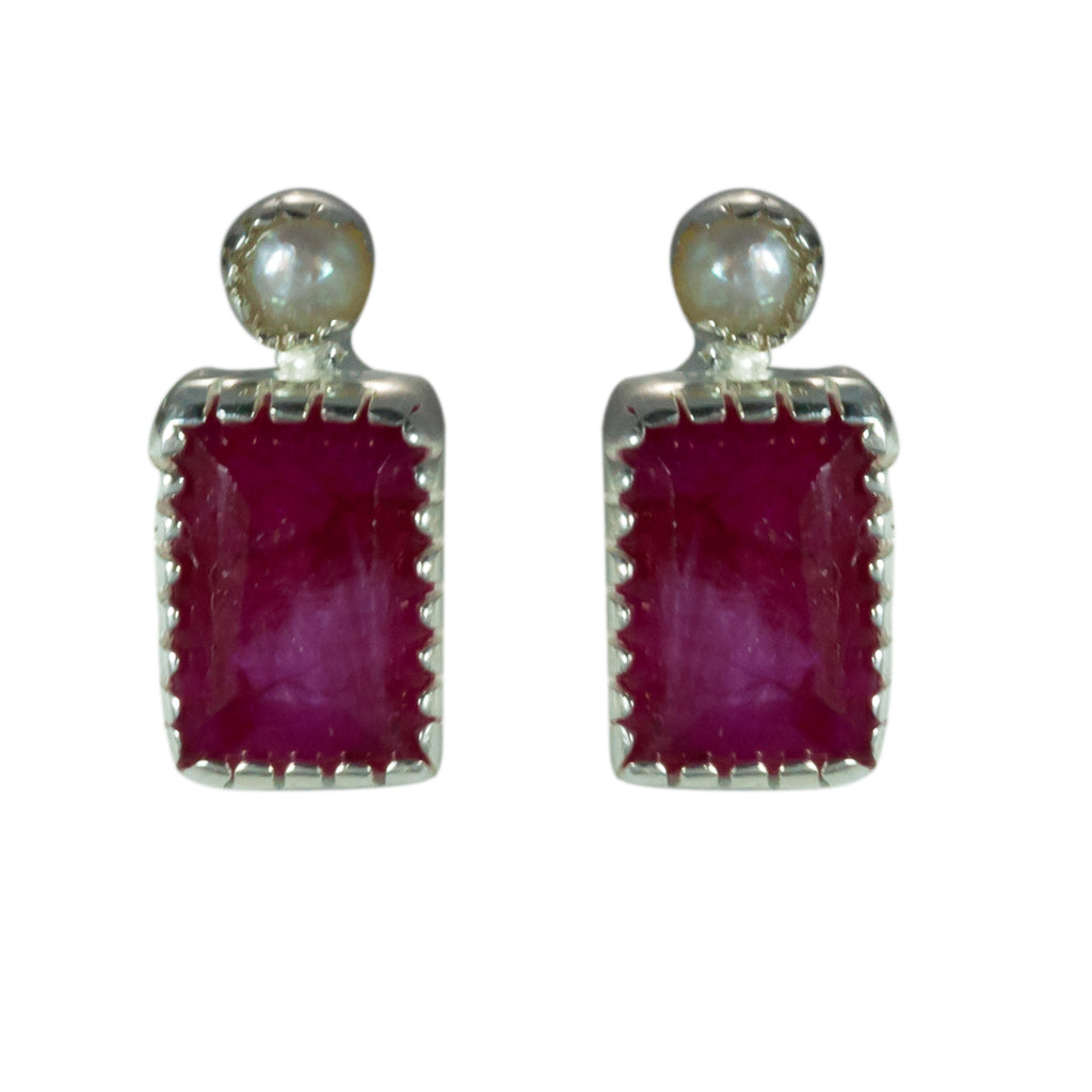 Pearl ruby affordable rectangle post earring delicate itsy