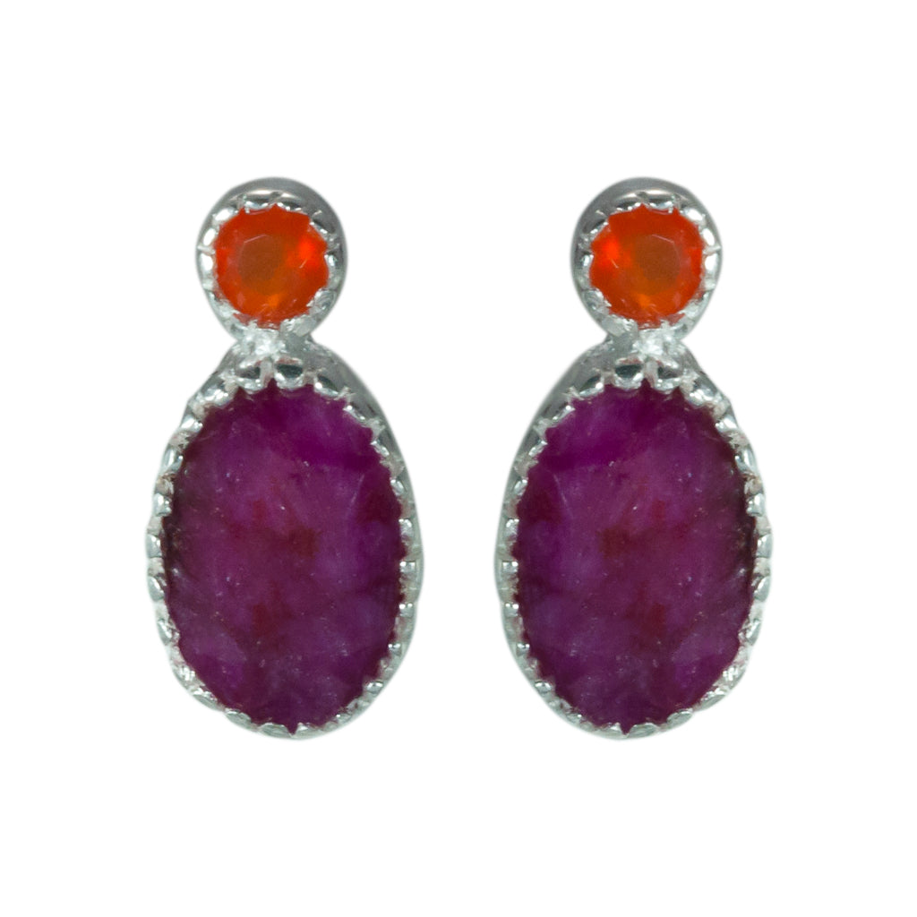 Carnelian Ruby affordable post oval earring bitsy