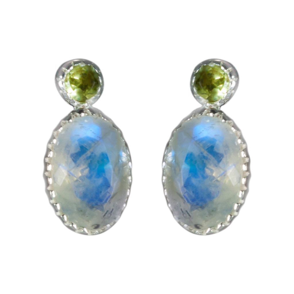 Peridot Rainbow moonstone post silver earring faceted oval delicate stone