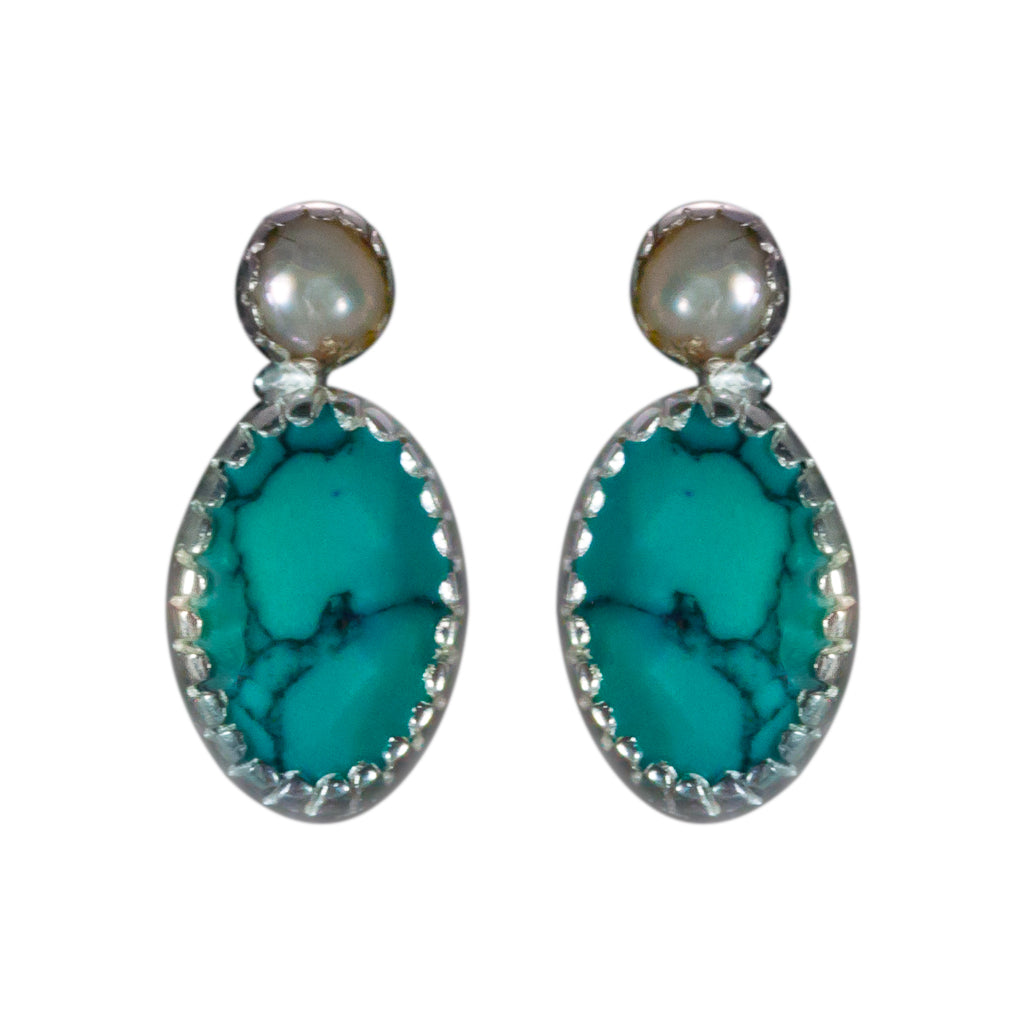 Pearl Turquoise Silver oval post earring