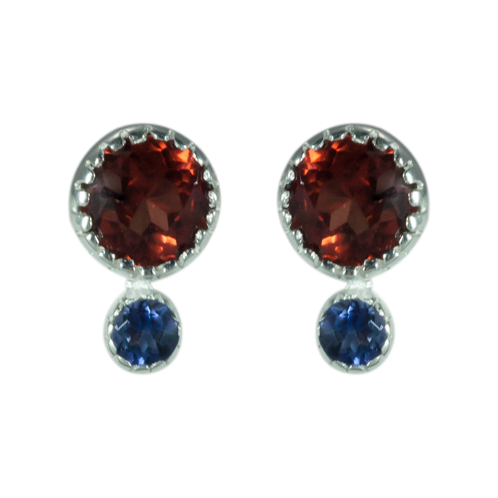 garnet iolite faceted stone round post earring teensy small