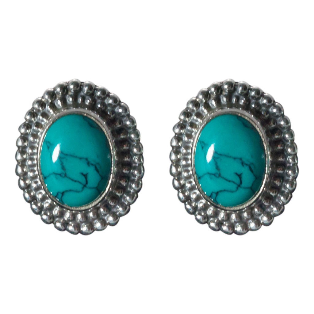 Turquoise post earring affordabel boho style oval