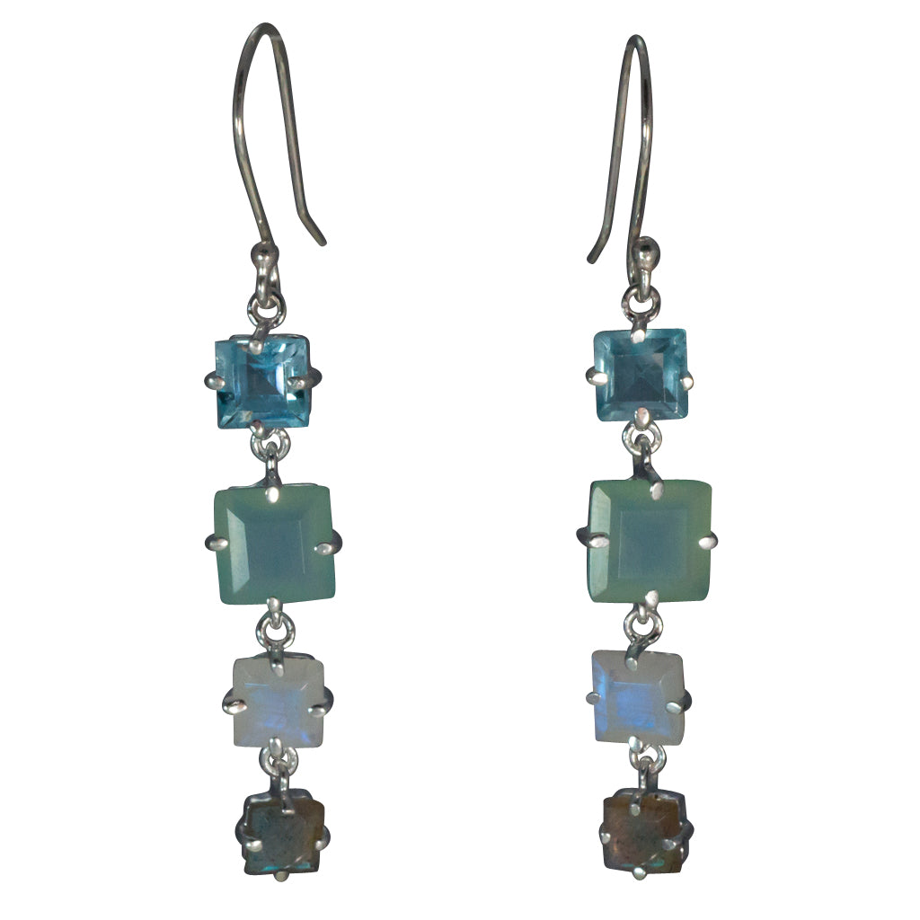 Cascades mix square dangle earring silver faceted multi stone affordable earring