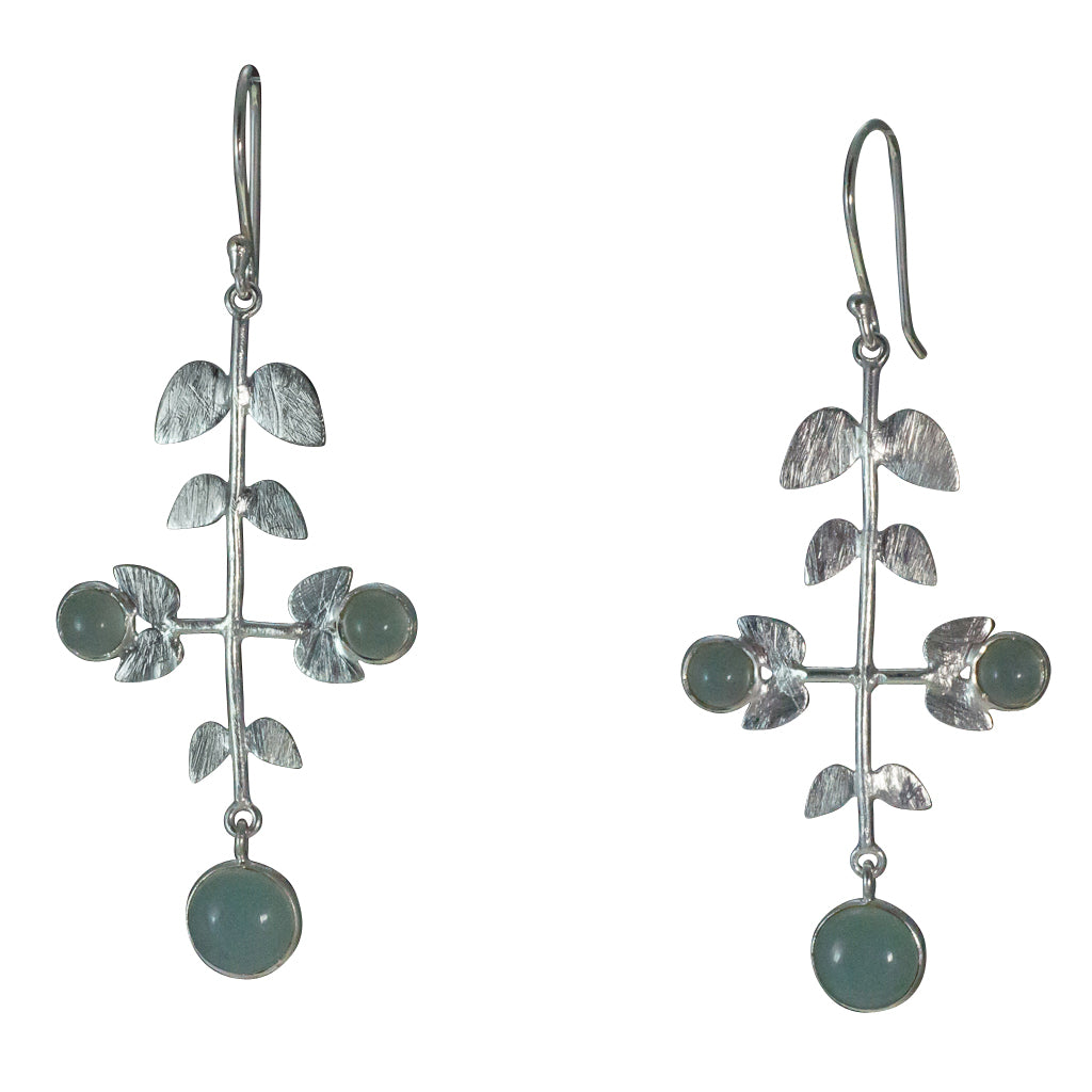 Floral chandelier earring chalcedony affordably stone silver