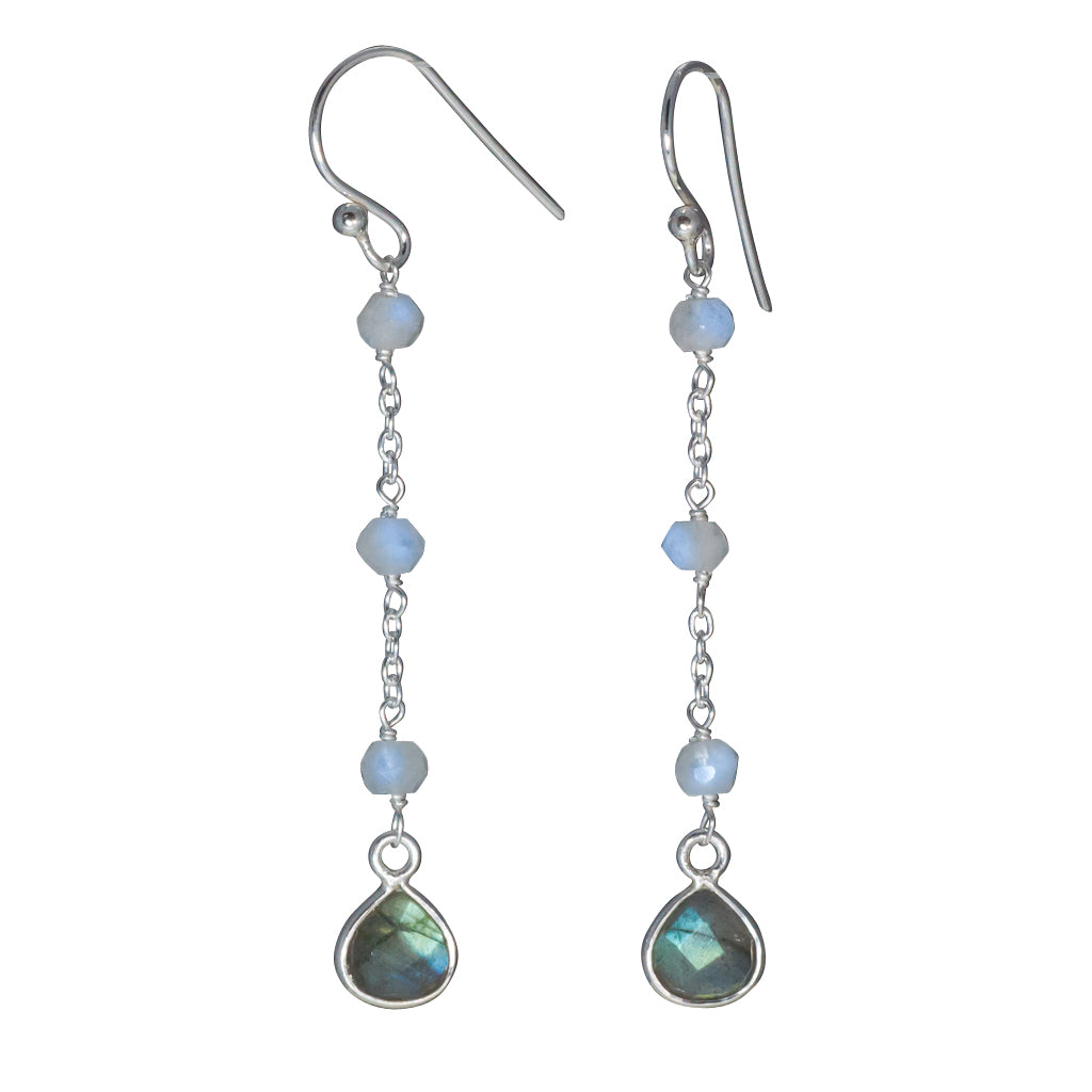Labradorite silver simple dangle earring affordable beads