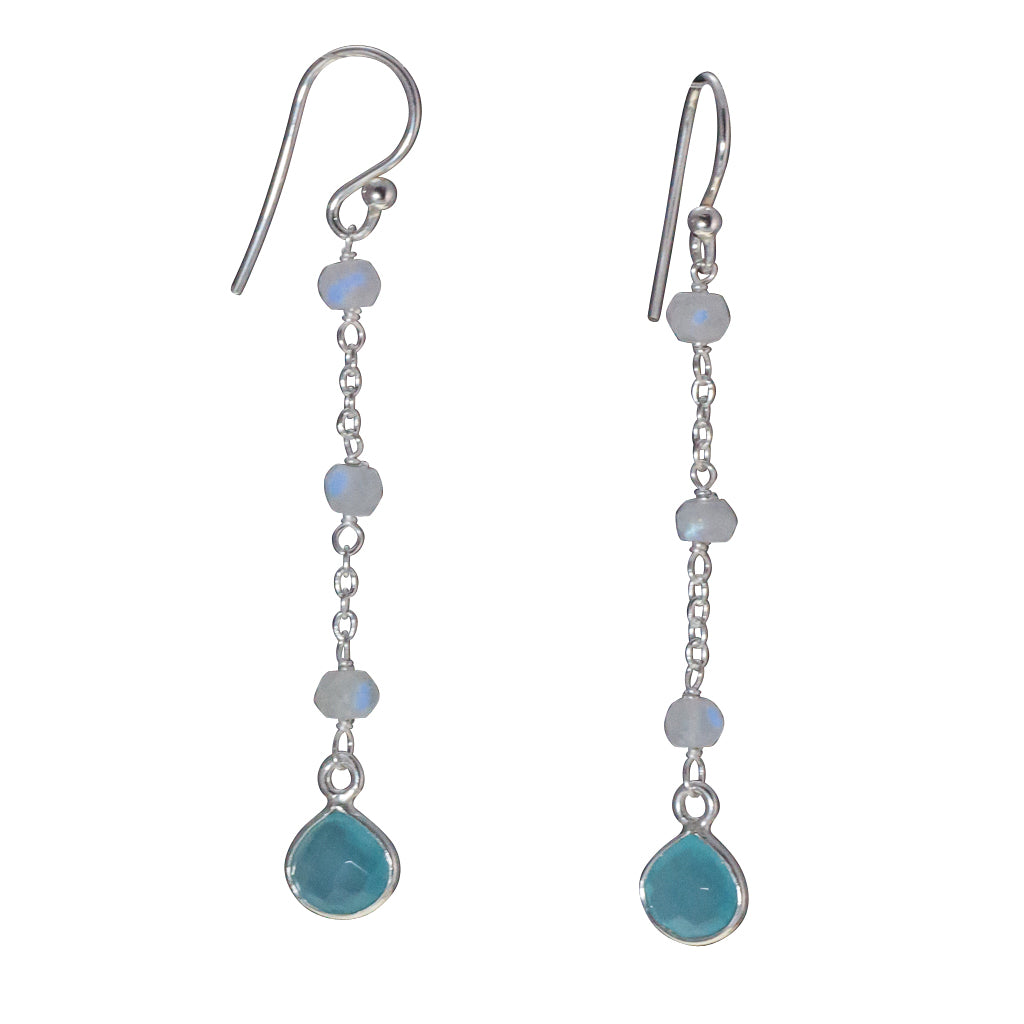 Sky chalcedony blu beads silver earring dangle affordable