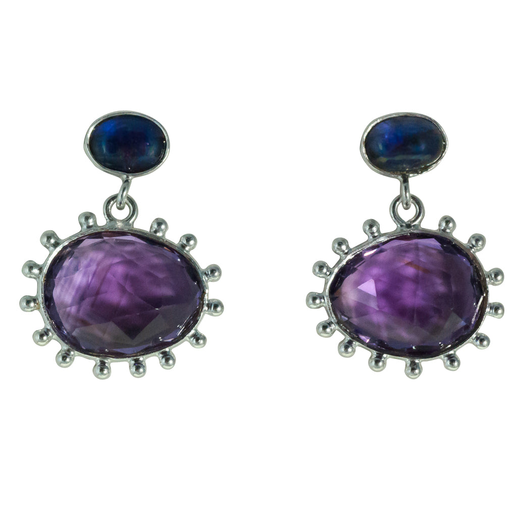 Amethyst peacock egg earring silver affordable