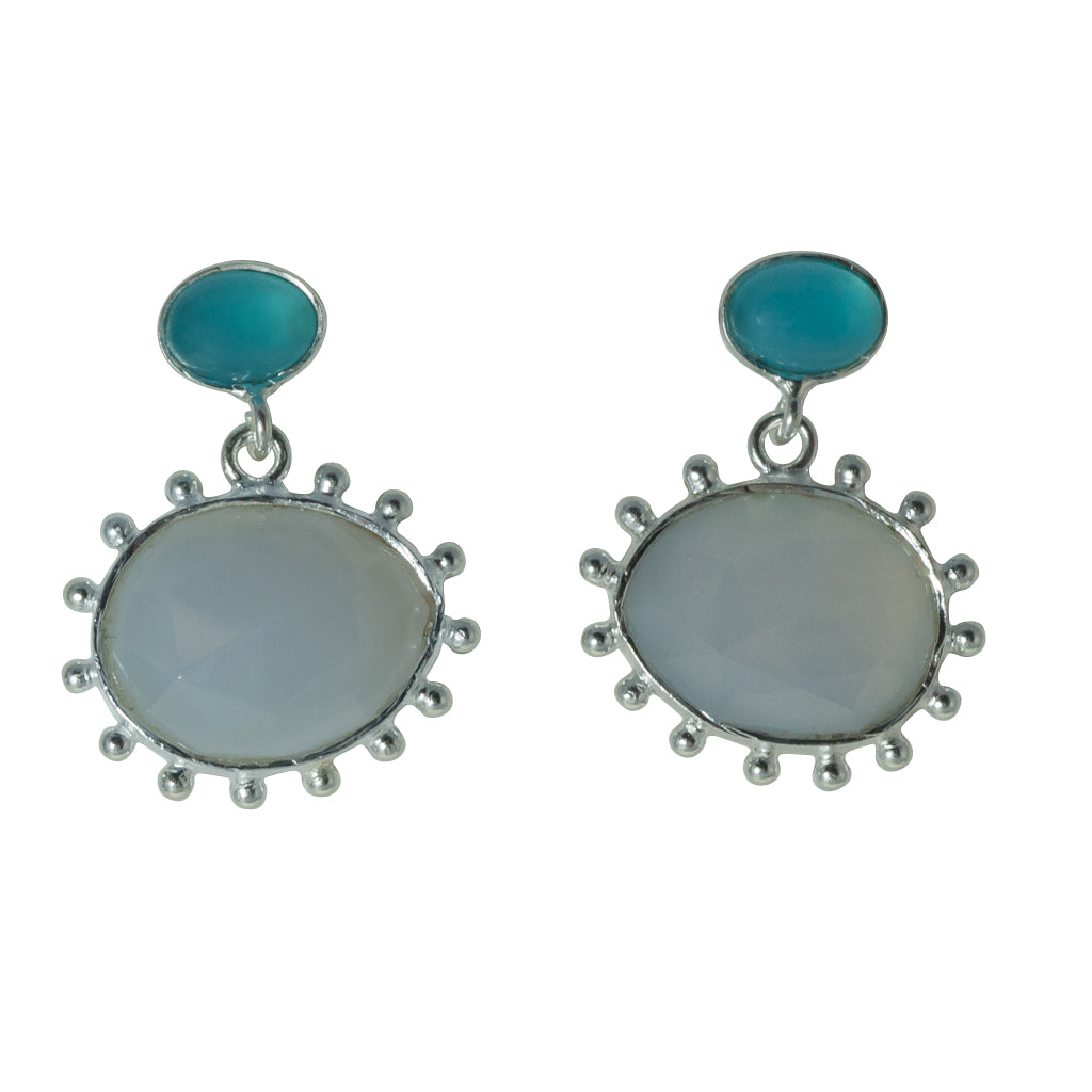 Powder chalcedony silver peacock egg affordable earring