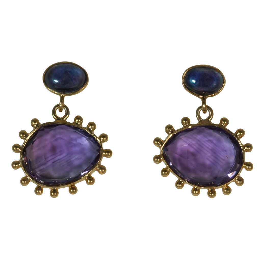 Amethyst earring peacock egg