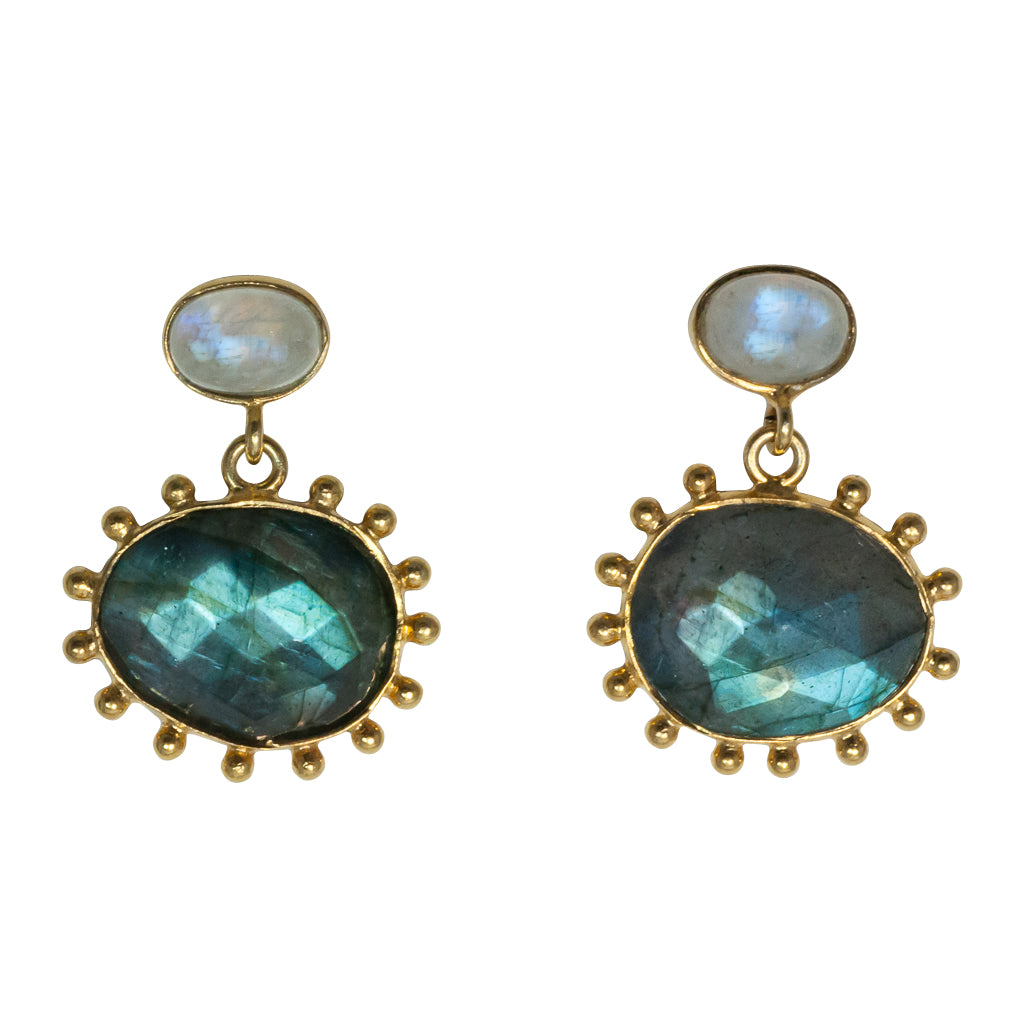 Labradorite earring vermeil affordable cute peacock egg