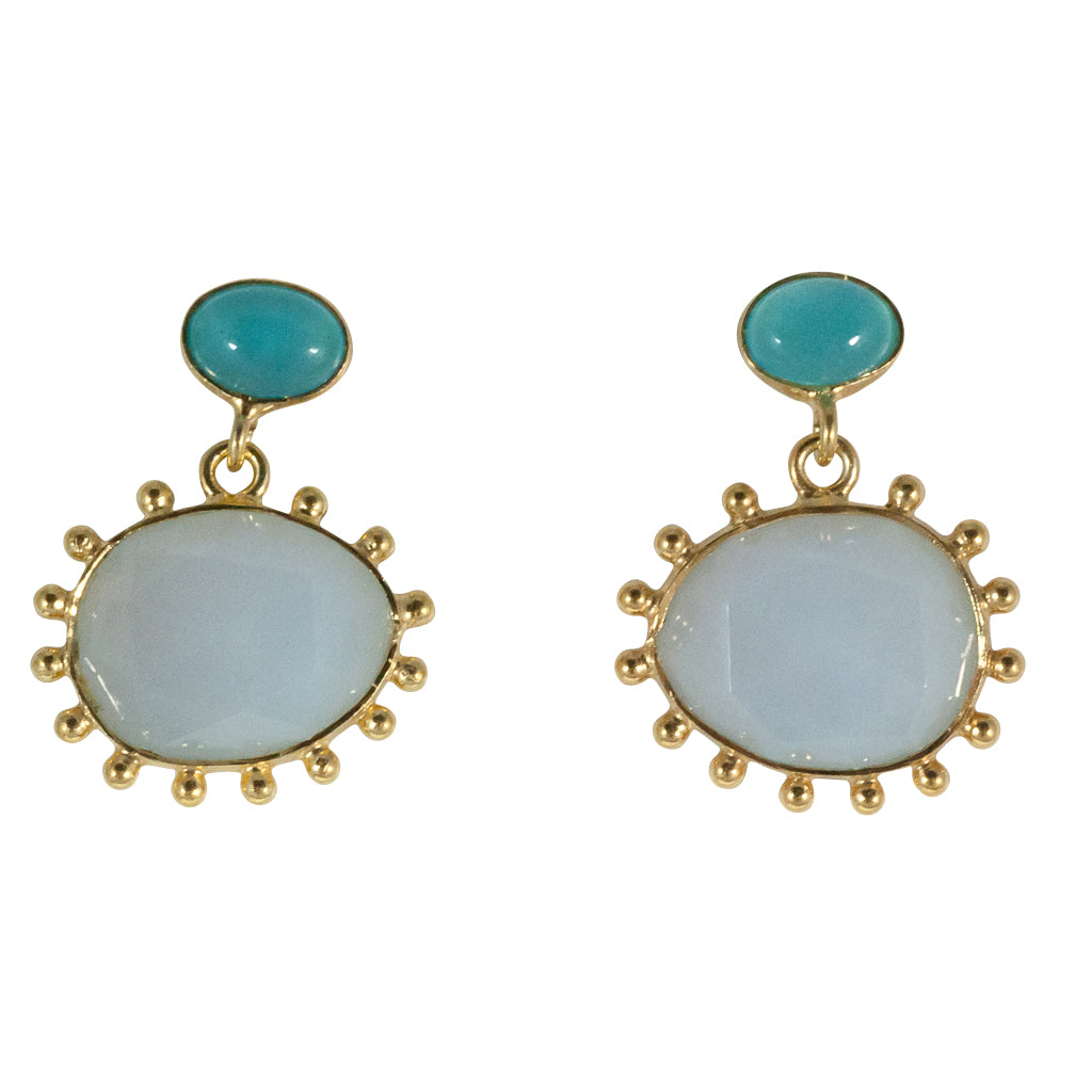 Powder Chalcedony earring peacock egg affordable