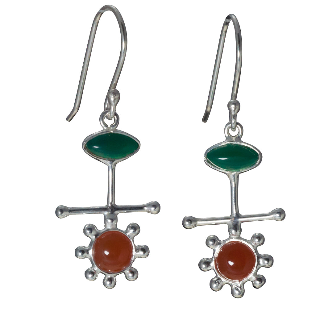 Mars Blooms Silver earring stone affordable green onyx carnelian