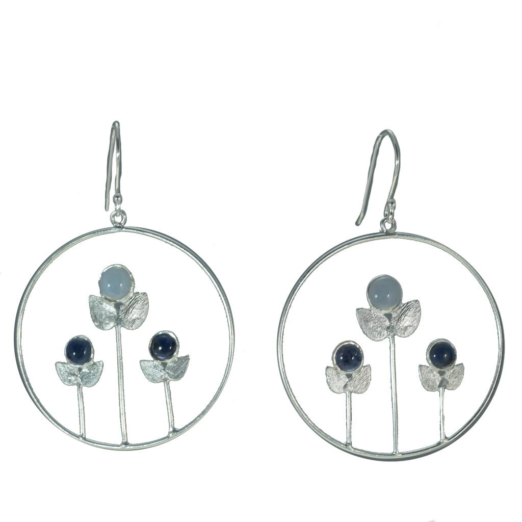 Silver Dangle Earring powder chalcedony affordable floral jewelry flower