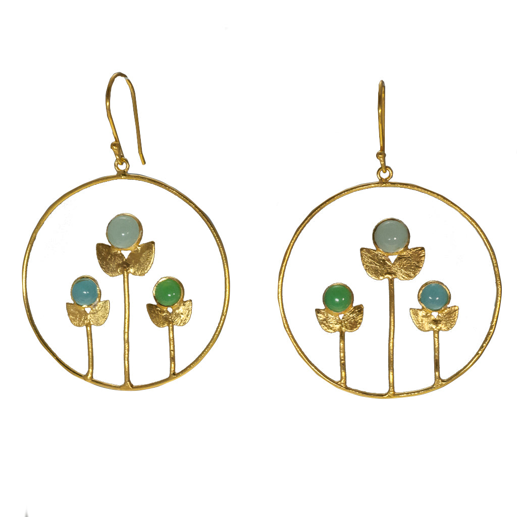 Vermeil floral earring flower affordable jewelry dangle chalcedony blue green aqua