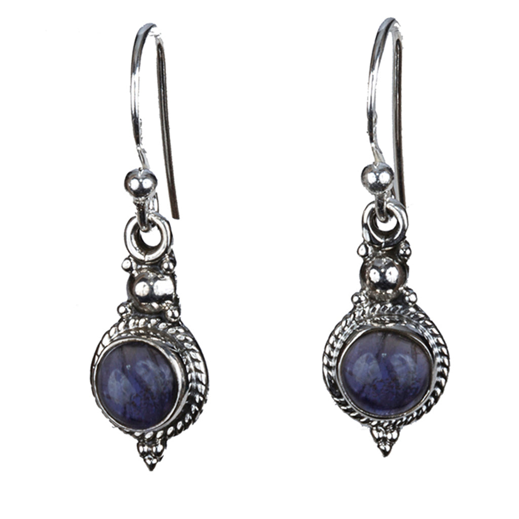 Iolite silver small round dangle earring
