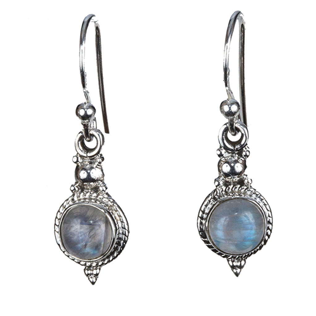 Silver rainbow moonstone earring