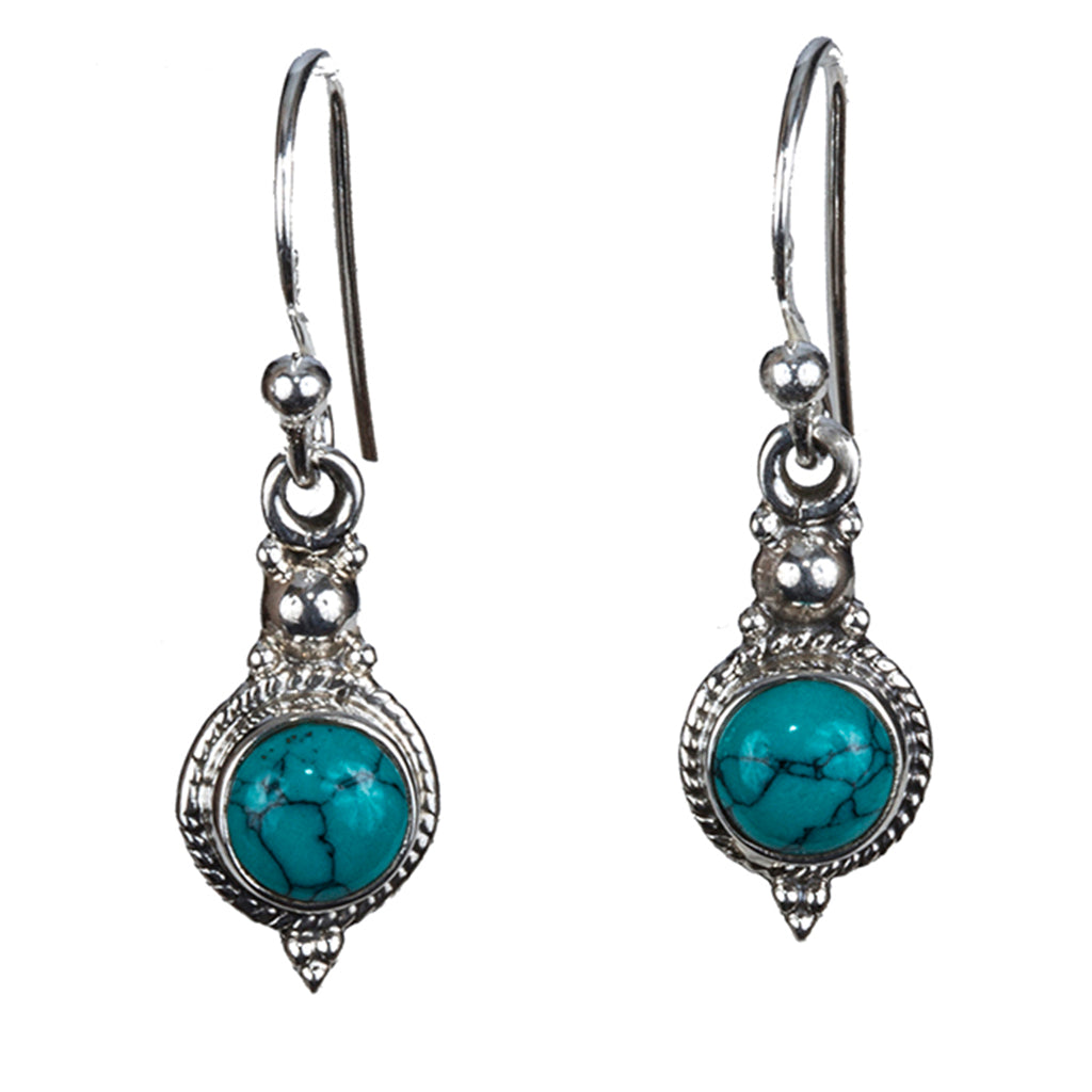 Turquoise silver boho style dangle earring