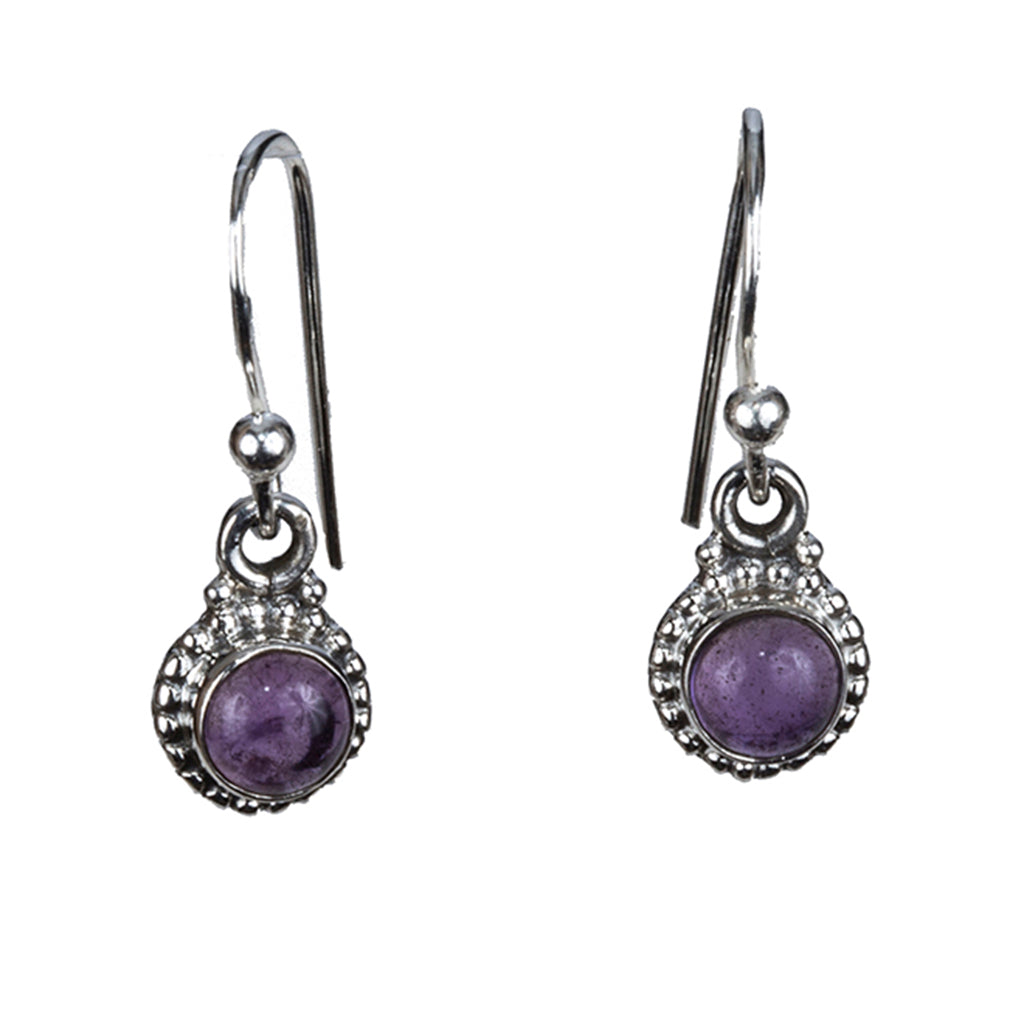 Mercury Earring silver small dangle affordable amethyst
