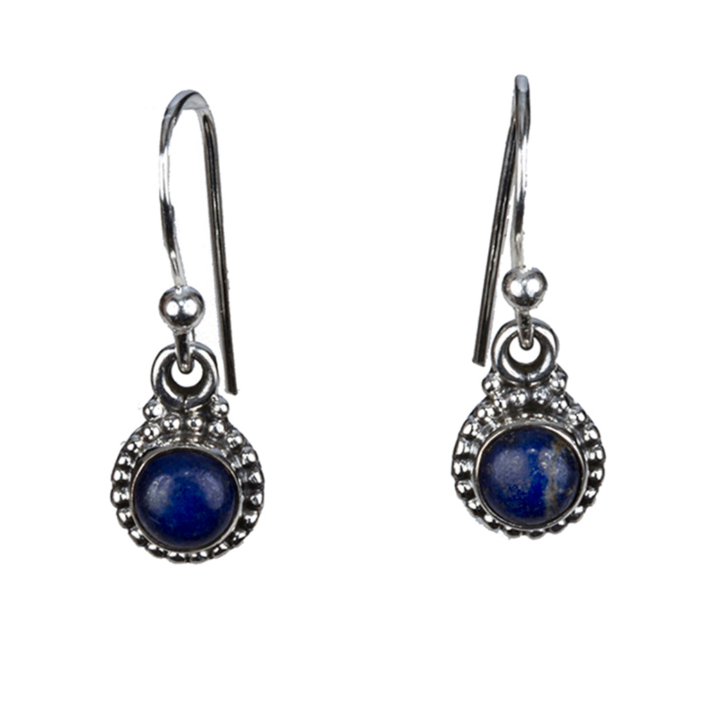 Lapis Earring cute small silver dangle