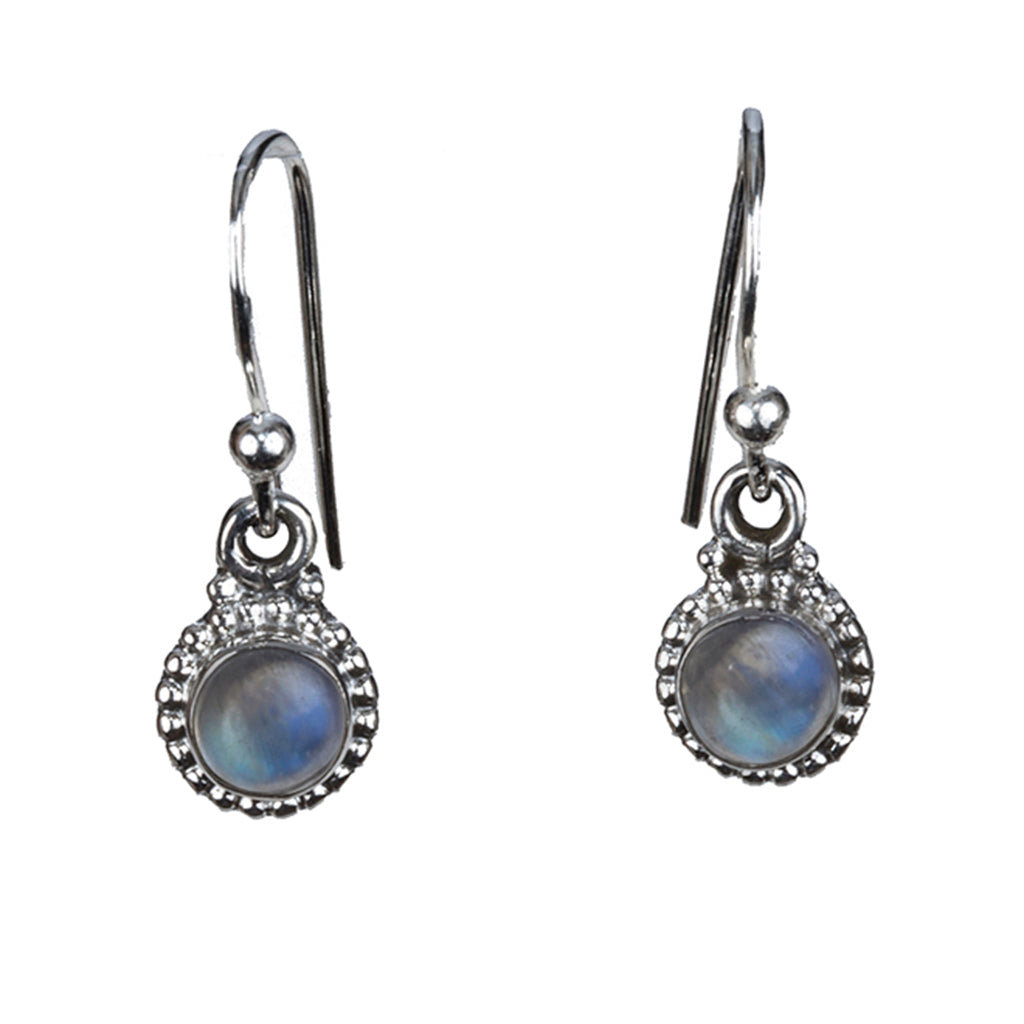 Rainbow Moonstone silver earring small dangle affordable